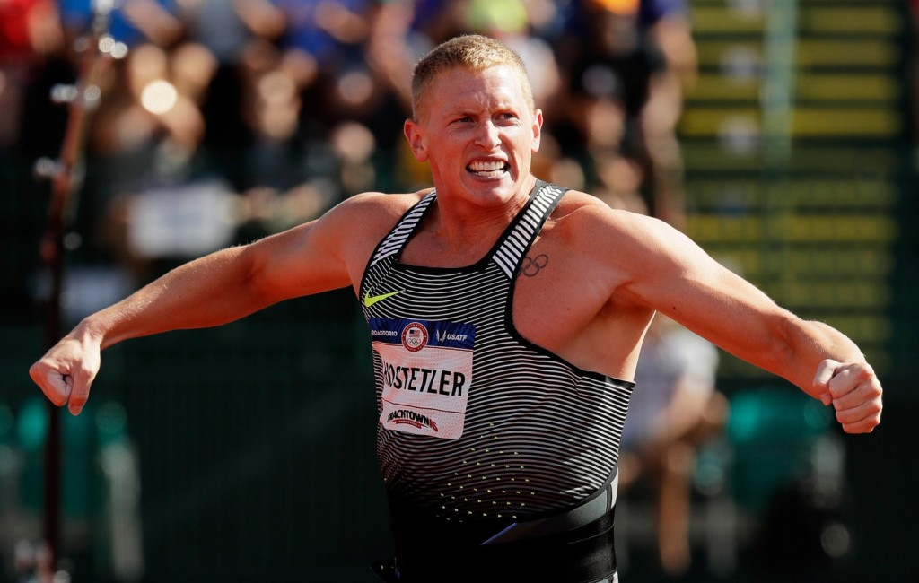 Cyrus Hostetler Celebrates Olympic Trials Gold Medal throw 83.24m in the javelin